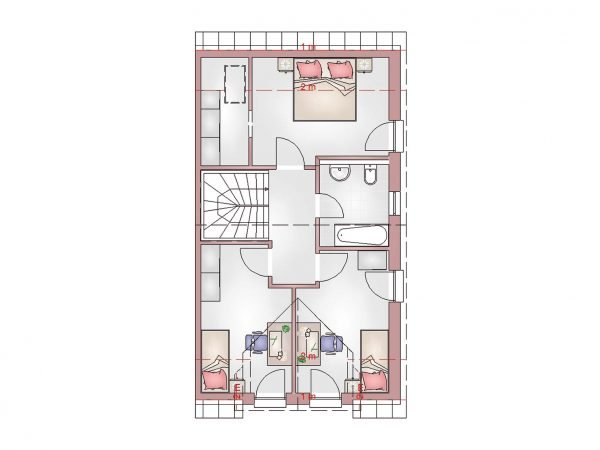 Grundriss Doppelhaus 100 DG