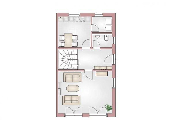 Grundriss Doppelhaus 100 EG