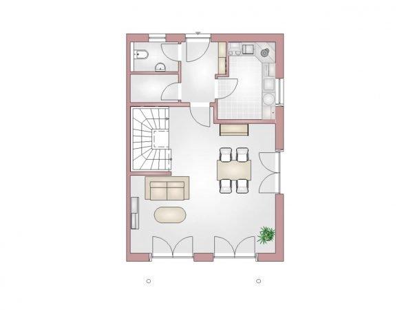 Grundriss Doppelhaus 140 EG