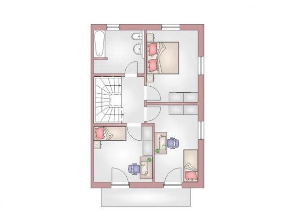 Grundriss Doppelhaus 140 OG